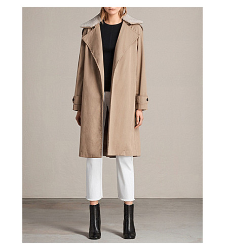 ALLSAINTS Lou cotton-twill wool coat (Sand+brown