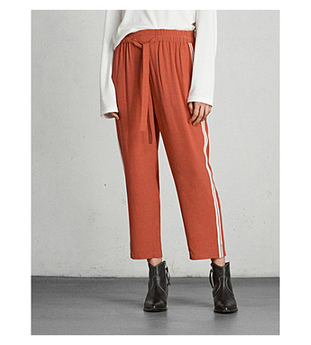 ALLSAINTS Talia striped crepe jogging bottoms (Coral+red/whit