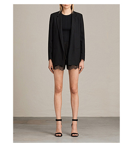 ALLSAINTS Carlin lace-trimmed crepe shorts (Black