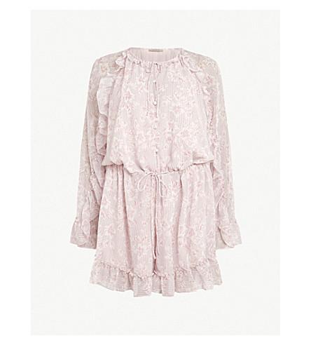 ALLSAINTS Flora Lanai frill-trim woven playsuit (Light+pink