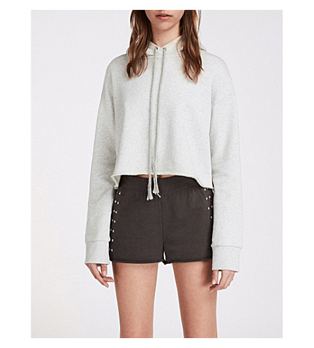 ALLSAINTS Simmi studded cotton-jersey jogger shorts (Washed+black