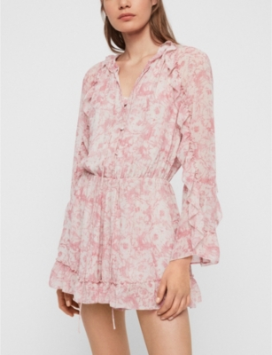 Flora Rosa ruffle-trimmed crepe playsuit