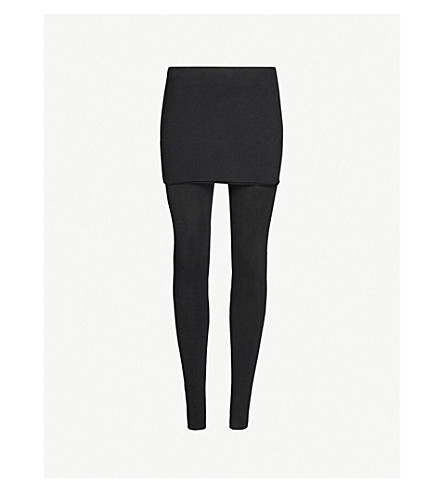 ALLSAINTS Raffi skirted cotton-blend leggings (Black
