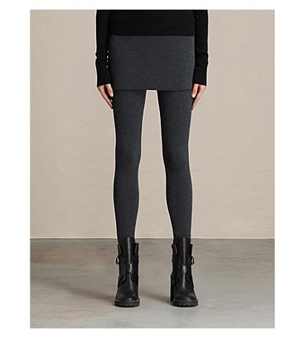 ALLSAINTS Raffi skirted cotton-blend leggings (Charcoal