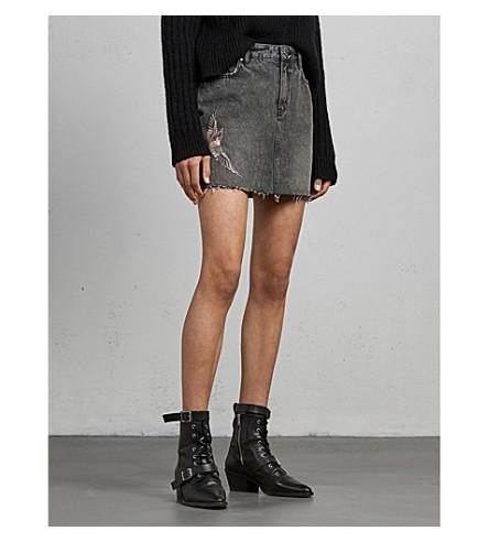 ALLSAINTS Bird-embroidered denim skirt (Washed+black