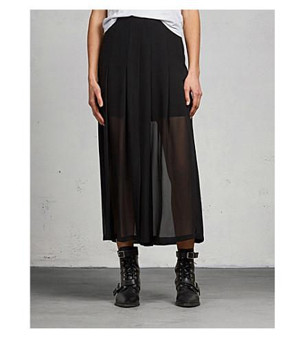 ALLSAINTS Drea layered chiffon midi skirt (Black