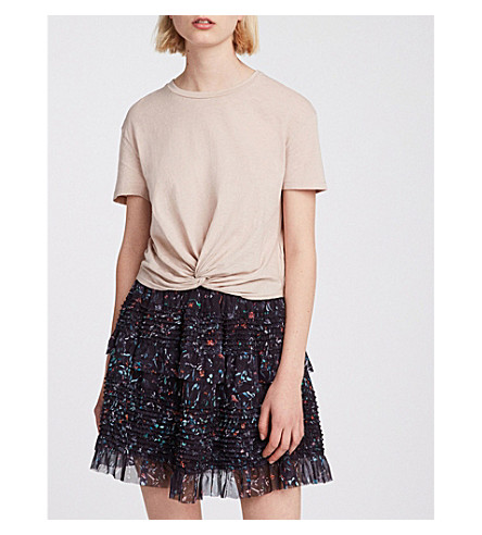 mini Black skirt print ALLSAINTS Sanse Juni ALLSAINTS floral Sanse SxAx6qYwR