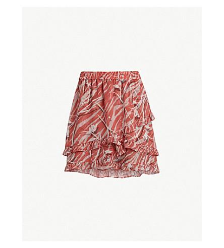 ALLSAINTS Tulia Kazuno-print skirt (Red
