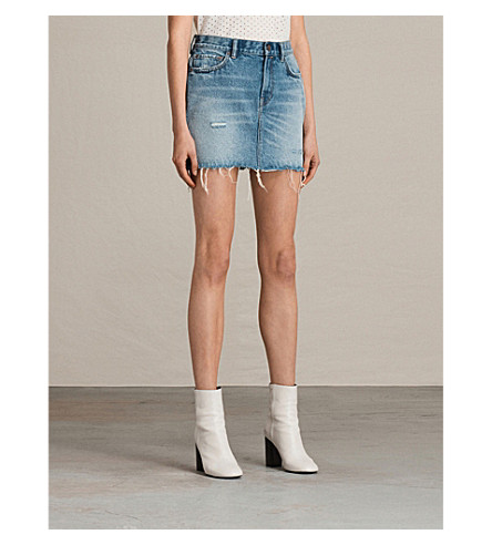 ALLSAINTS Betty denim skirt (Mid+indigo+blu