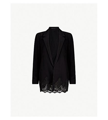 ALLSAINTS Aleida lace-trimmed crepe blazer (Black