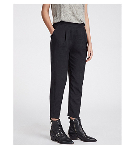 ALLSAINTS Obel pleated wide-leg crepe trousers (Ink+blue