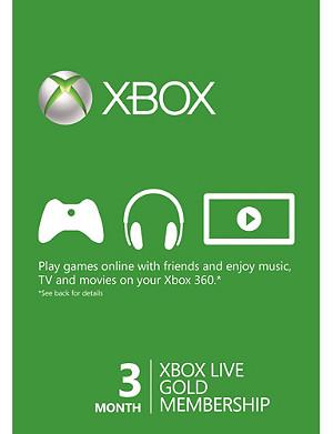 MICROSOFT Xbox Live Gold three-month Membership 3 months