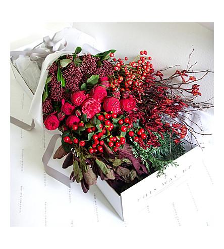PHILIPPA CRADDOCK Classic rich wintry red flower box