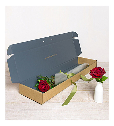 PHILIPPA CRADDOCK Single red rose flower box