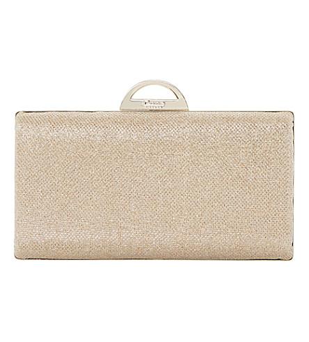 DUNE Bex hard case clutch (Gold-metallic+fabric