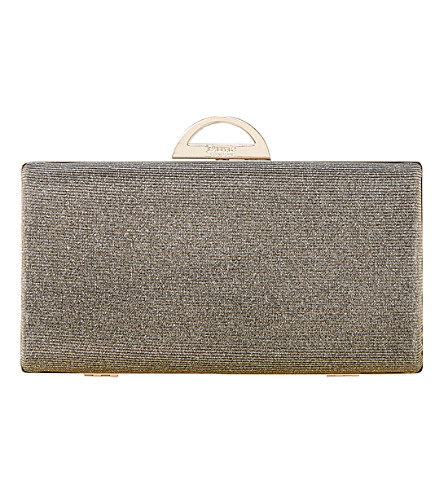 DUNE Bex hard case clutch bag (Bronze-metallic+fabric