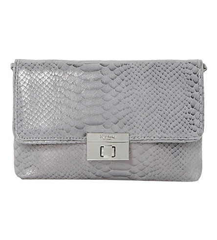 DUNE Balbina leather-look clutch (Pewter-reptile
