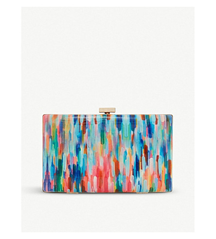 DUNE Brocco patent clutch bag (Multi-patent+synthetic