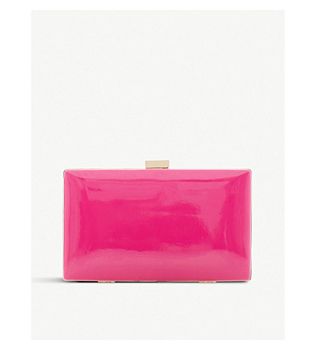 DUNE Brocco patent clutch bag (Fuschia-patent
