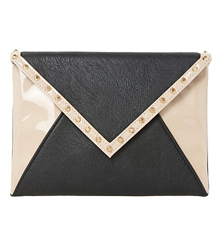 DUNE Barcel contrast panel envelope clutch bag (Nude patent