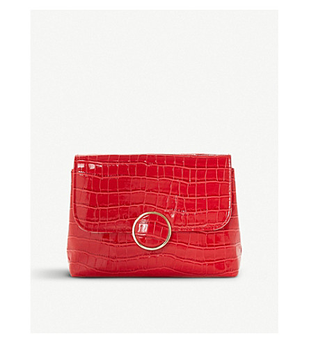DUNE Bayer croc-effect patent clutch (Red-croc+synthetic