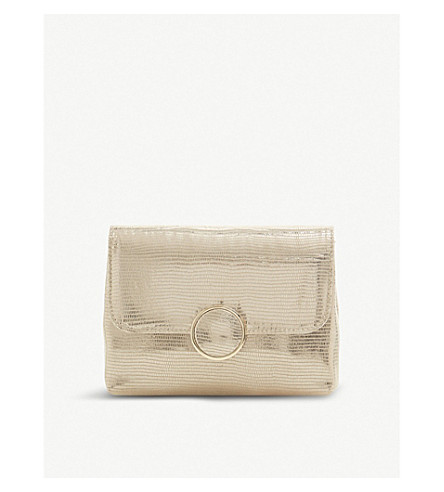 Bayer reptile-embossed metallic clutch