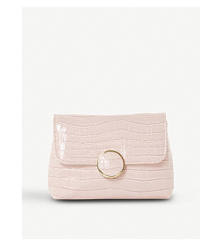 DUNE Bayer croc-effect patent clutch (Blush-patent+synthetic