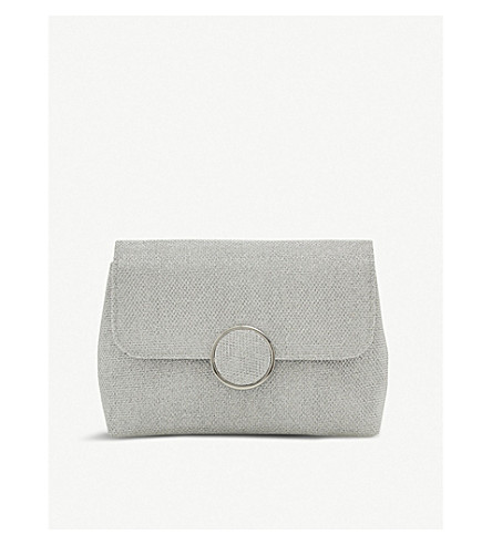 Bayer metallic-knit clutch