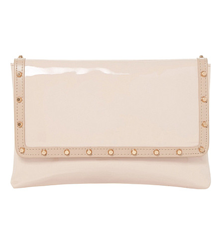 DUNE Bairo patent-leather envelope clutch (Nude-patent+synthetic
