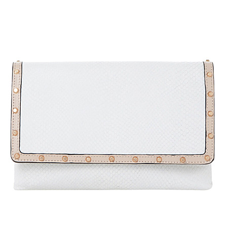 DUNE Bairo reptile-embossed leather clutch (White-reptile