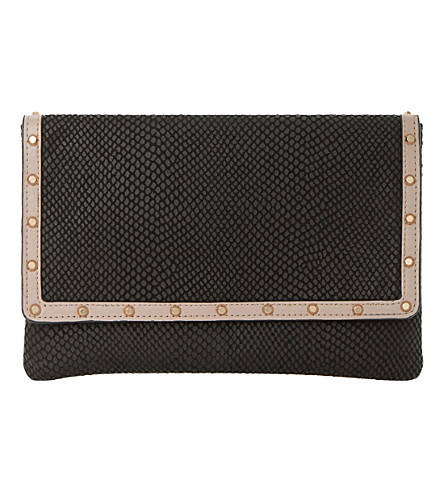 DUNE Borriss studded leather envelope clutch bag (Black-snake