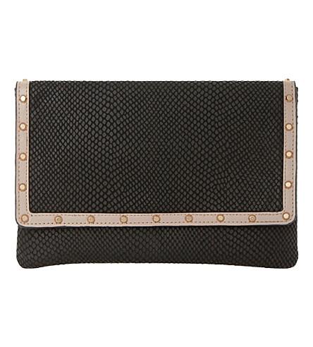 DUNE Studded leather envelope clutch bag (Black-snake