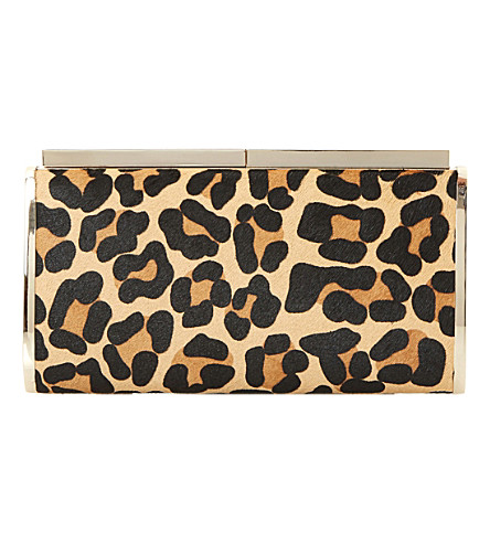 DUNE Britney leopard print calf-hair clutch (Leopard-leather