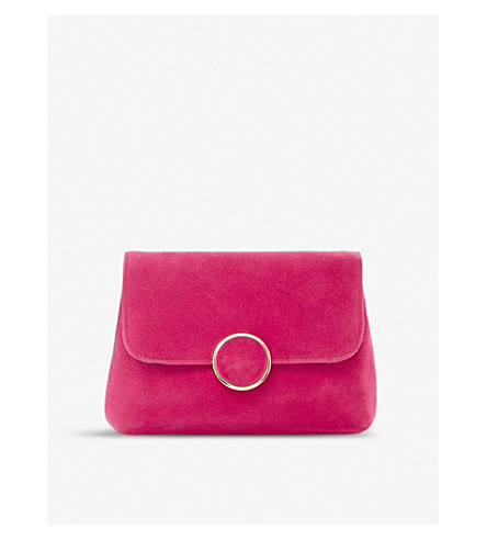 DUNE Bonie suede and leather clutch (Pink-suede