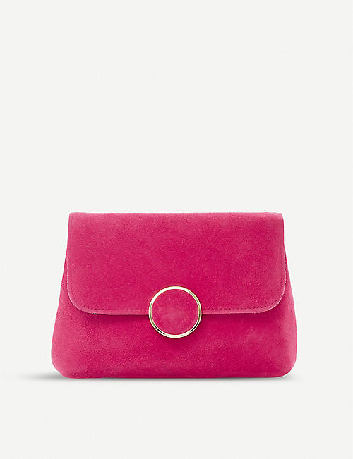 DUNE Bonie suede and leather clutch