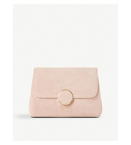 DUNE Bonie suede and leather clutch (Blush-suede
