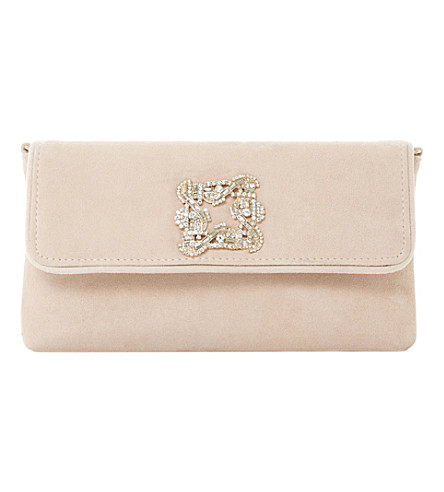 DUNE Betsey jewelled suede clutch bag (Nude-suede