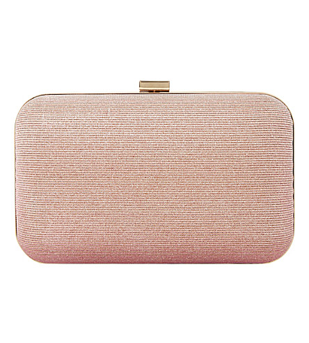 DUNE Bsarah irridescent box clutch (Rose gold metallic