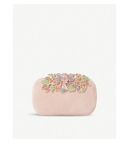 DUNE Bemberrs embellished suede clasp clutch bag (Blush-suede