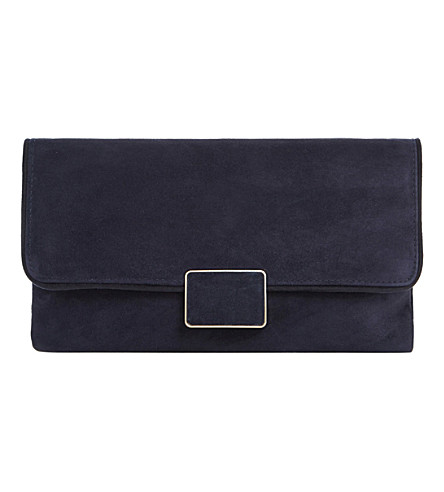 DUNE Binny flap over suede clutch (Navy-suede