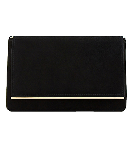 DUNE Bouncy faux-suede clutch (Black-suede
