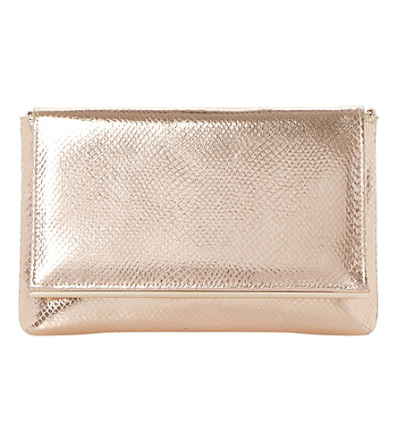 DUNE Reptile-effect metallic clutch bag (Rose+gold-fabric