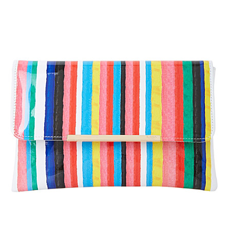 DUNE Bambu Stripe-print clutch bag (Multi-synthetic
