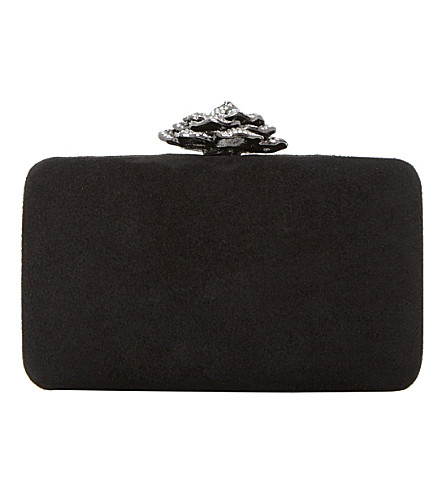 DUNE Bellflower embellished suede clutch (Black-suede