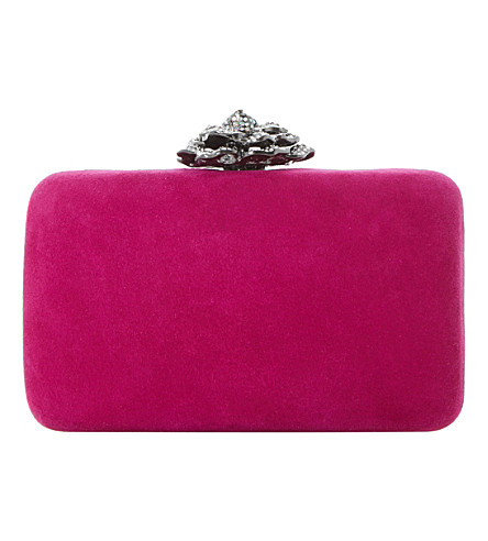 DUNE Bellflower embellished suede clutch bag (Pink-suede