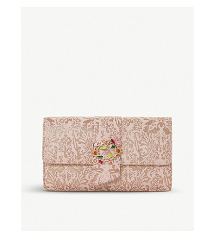 DUNE Biljou brocade foldover clutch (Rose+gold-metallic