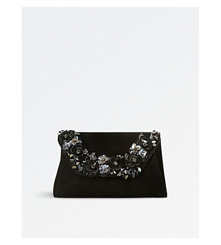DUNE Bathilda leather embellished clutch bag (Black-suede