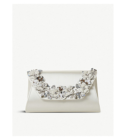 DUNE Bathilda embellished clutch bag (Ivory-satin