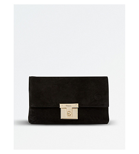 DUNE Birchin fold-over suede clutch bag (Black-suede
