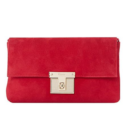 DUNE Birchin fold-over suede clutch bag (Red